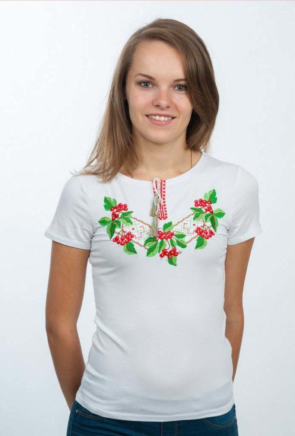 Женская футболка с вышивкой Калина