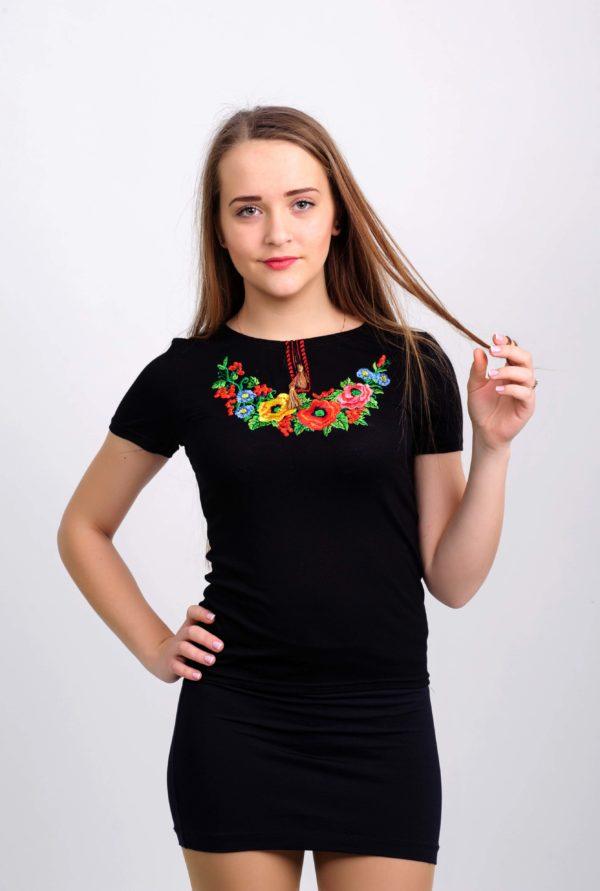 Женская футболка с вышивкой Западный мак