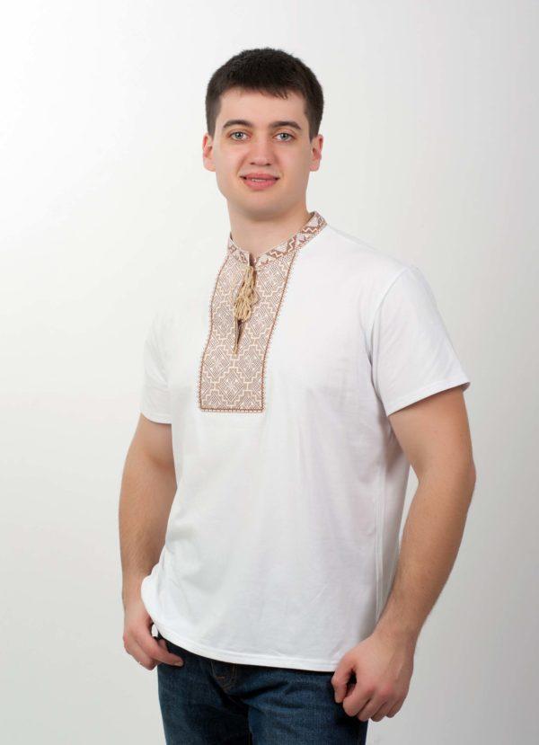 Мужская футболка с вышивкой белая/беж