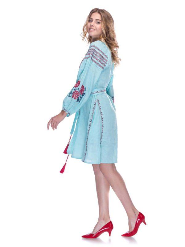Платье с вышивкой Роза голубой