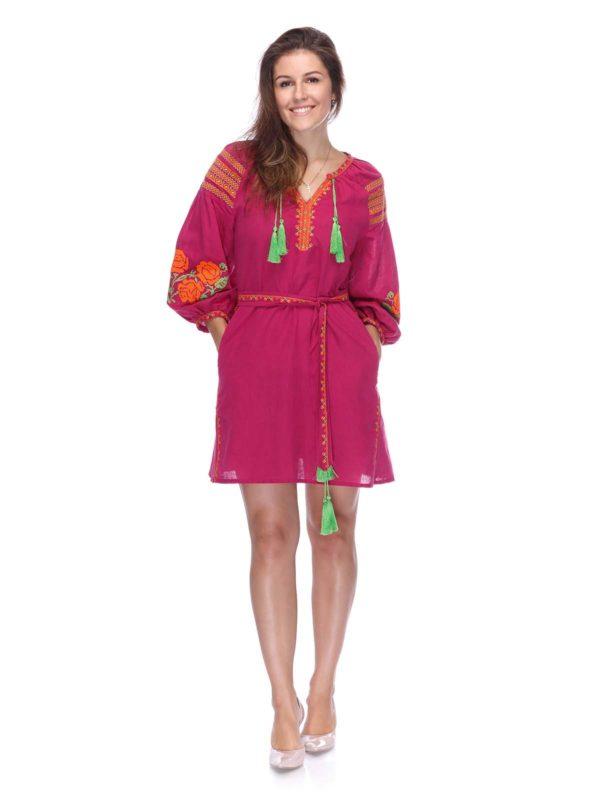 Платье с вышивкой Роза виноград