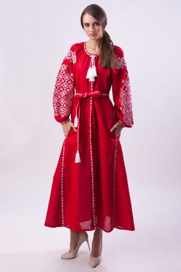 Платье с вышивкой красное/белая