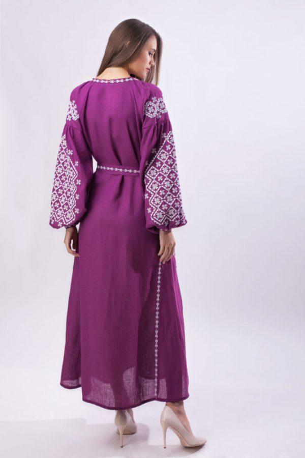 Платье с вышивкой Ясные зори виноград/белый
