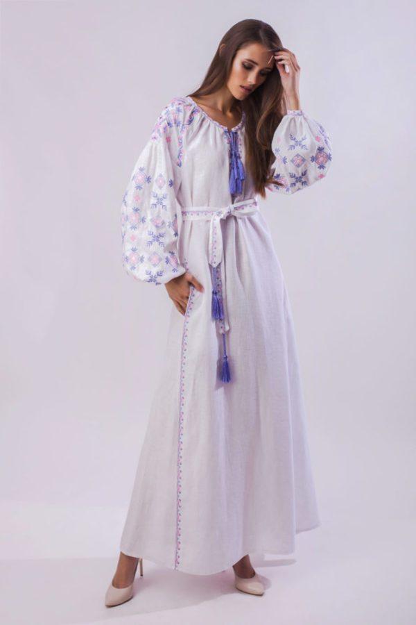 Платье с вышивкой Цветок папоротника