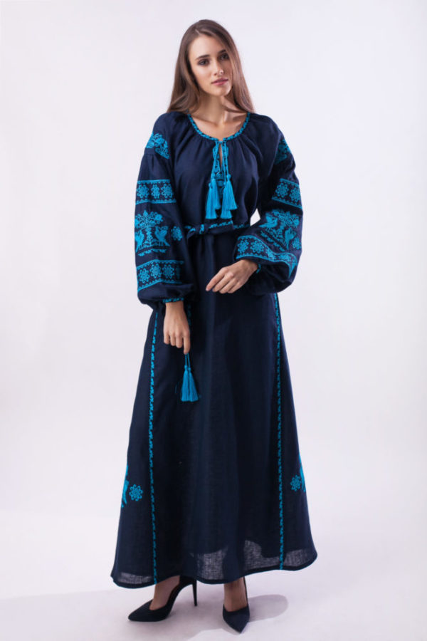 Платье с вышивкой Волшебная птица темно-синий/бирюза