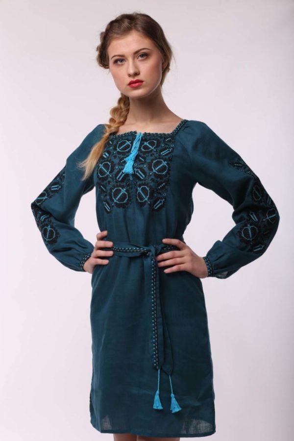 Платье с вышивкой Этно морская волна