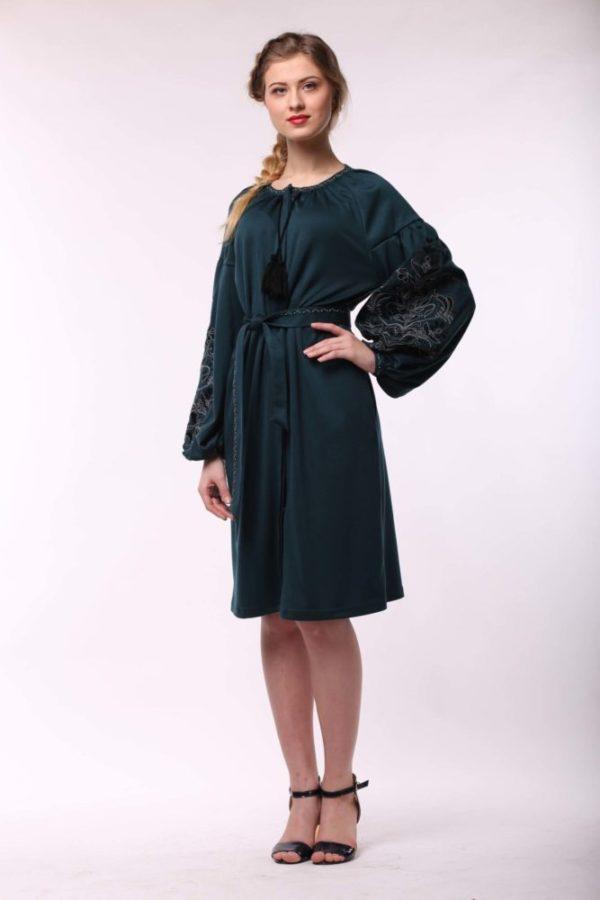 Платье с вышивкой Дерево жизни изумруд джерси