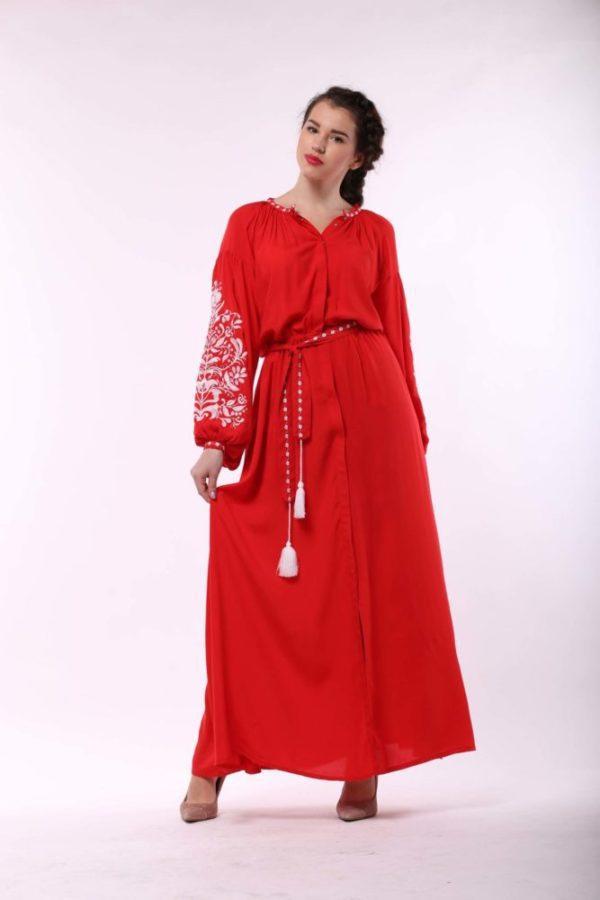 Платье с вышивкой Дерево жизни  красный/белый