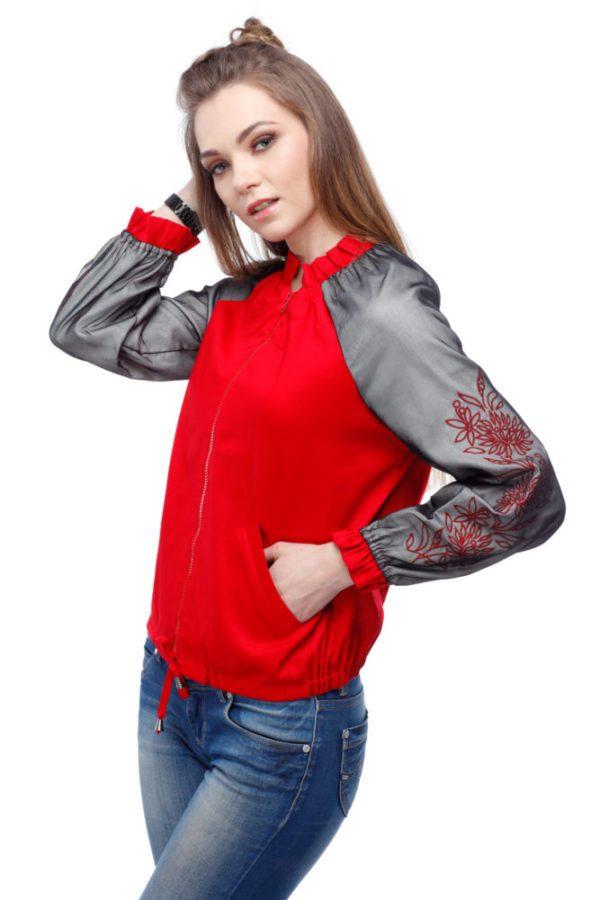 Бомбер с вышивкой Хризантема красный