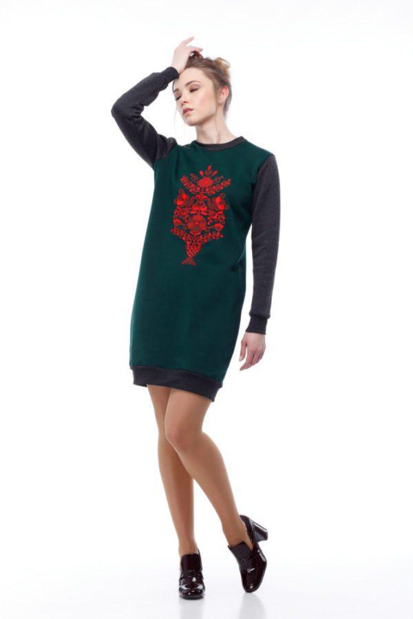 Платье-свитшот с вышивкой Дерево жизни