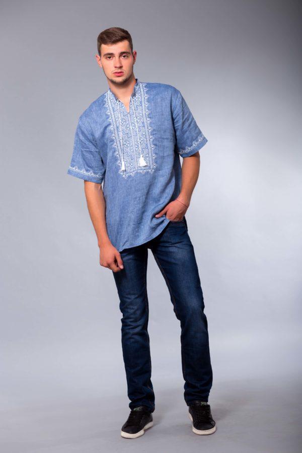 Мужская вышиванка Твори мир короткий рукав джинс