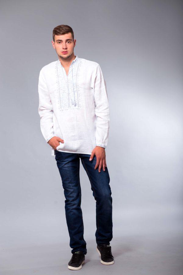 Мужская вышиванка с длинным рукавом Твори мир белая/голубой