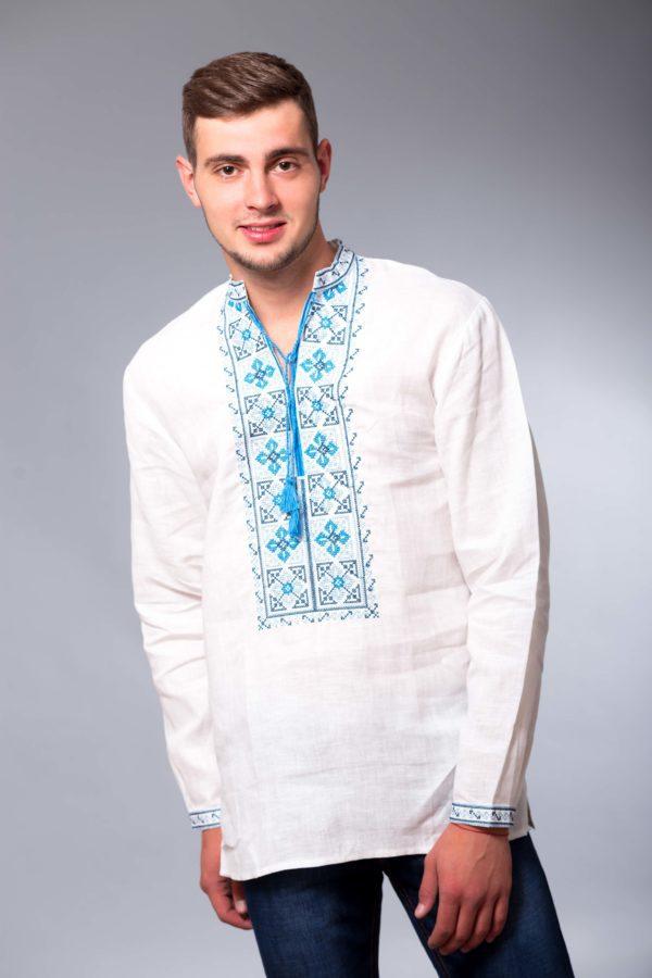Мужская вышиванка с длинным рукавом Два цвета белая/синяя