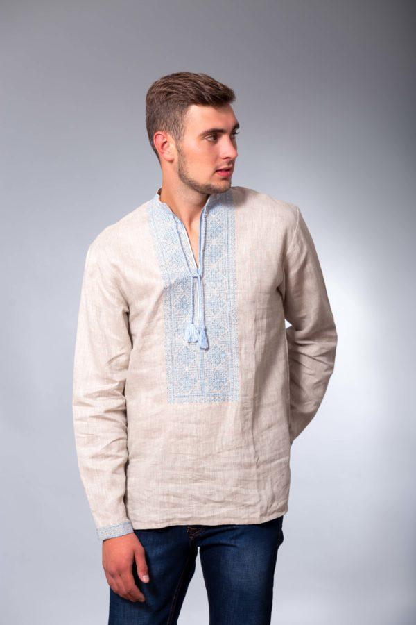 Мужская вышиванка с длинным рукавом Два цвета беж/голубая