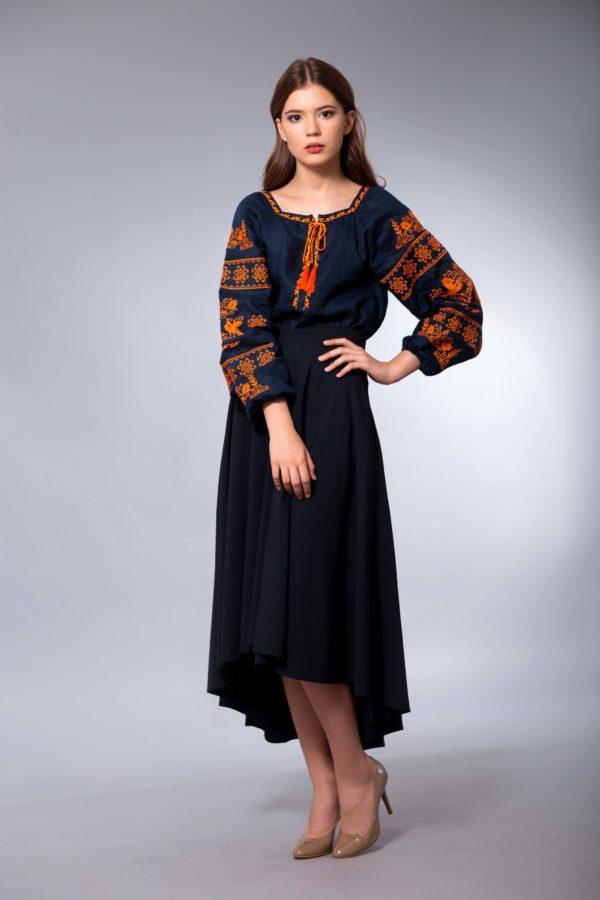 Женская вышиванка Чудесная птица оранж