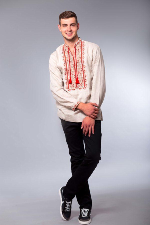Мужская вышиванка с длинным рукавом Твори мир беж/красная