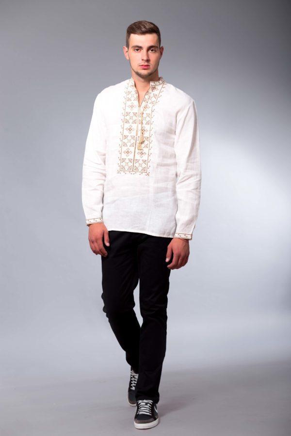 Мужская вышиванка с длинным рукавом Два цвета белая/беж