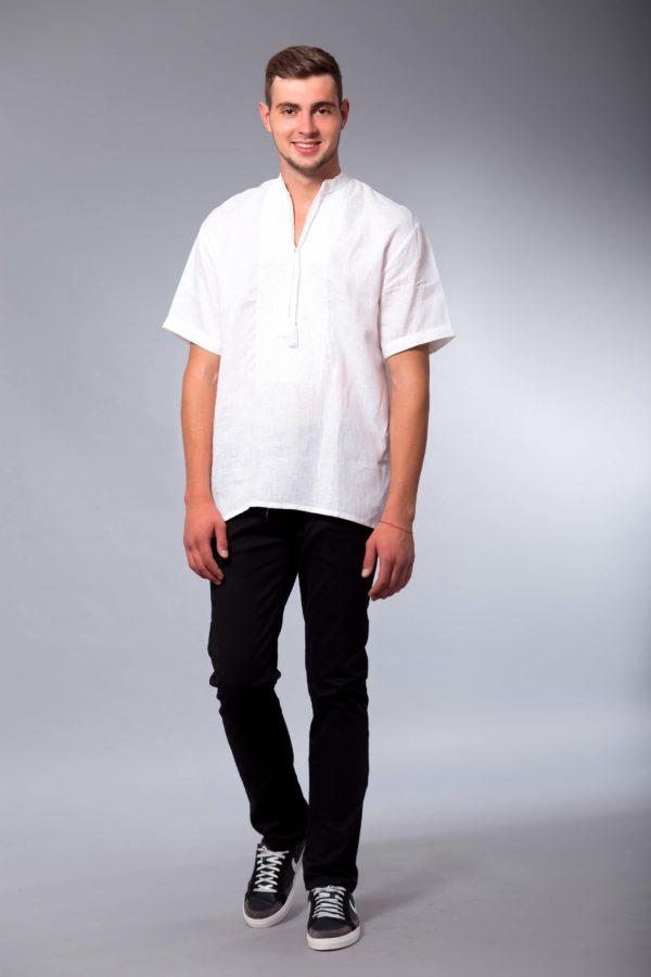 Мужская вышиванка с коротким рукавом Два цвета белая/белая