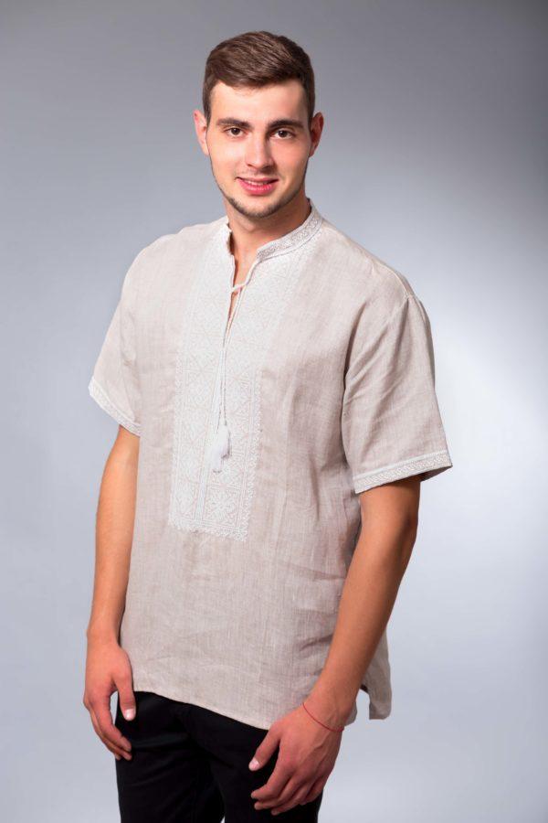 Мужская вышиванка с коротким руковом Два цвета беж/белая