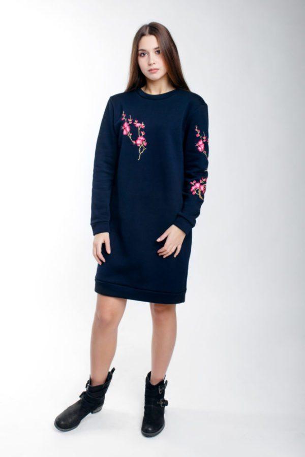 Платье-свитшот с вышивкой Сакура темно-синие