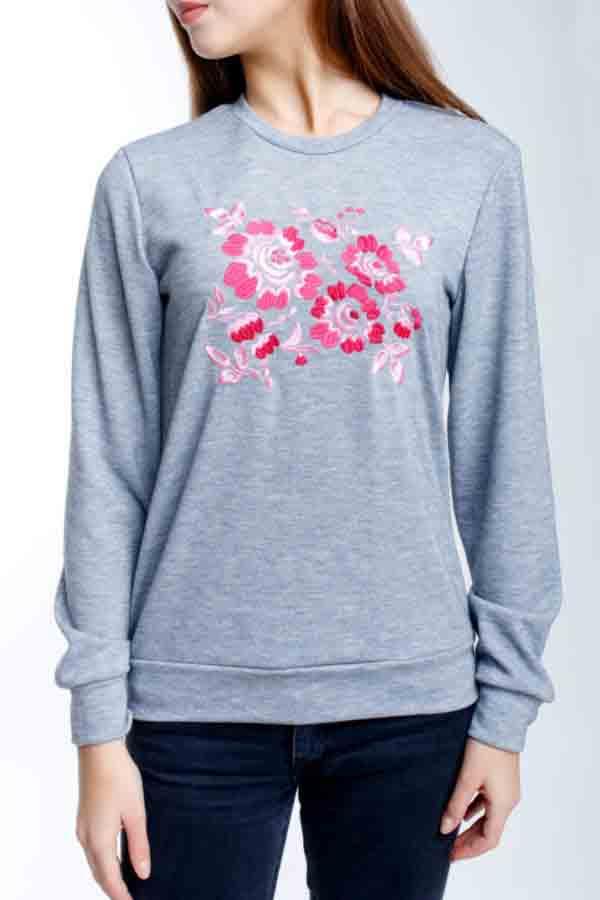 Свитшот с вышивкой Цветы меланж