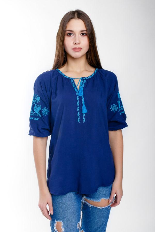 Женская вышиванка Волшебная птица синий штапель