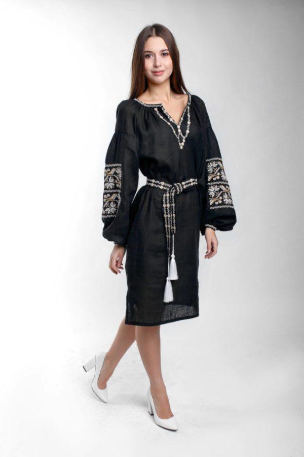 Платье с вышивкой Ломаная ветка черный/беж