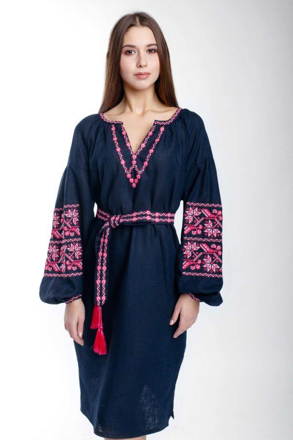 Платье с вышивкой Ломаная ветка темно-синий/фуксия