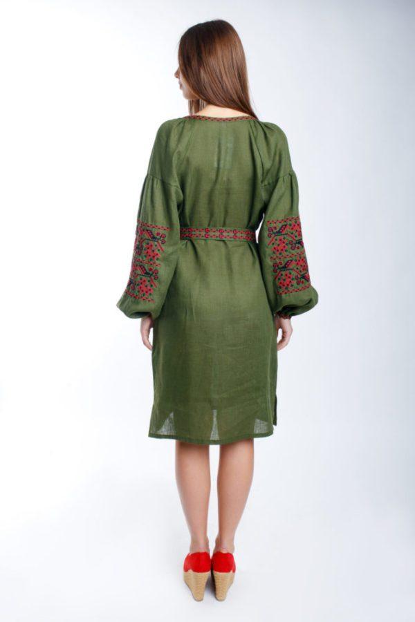Платье с вышивкой Ломаная ветка хаки/красный