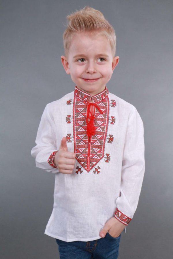 Вышиванка для мальчика Гетьман белая/красная