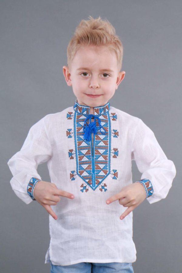 Вышиванка для мальчика Гетьман белая/синяя