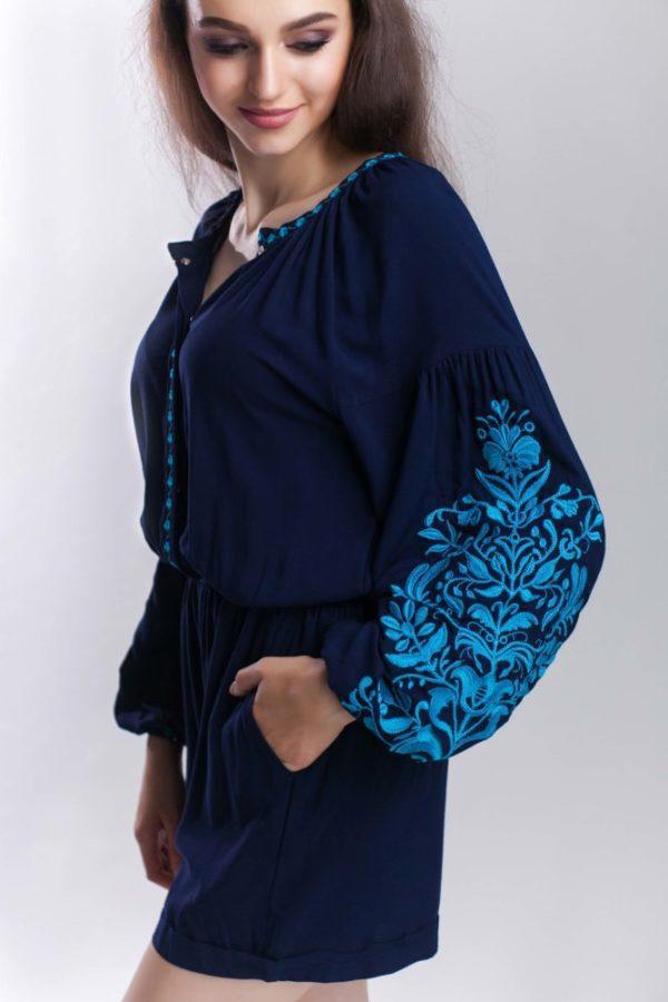 Комбинезон с вышивкой Дерево жизни темно-синий