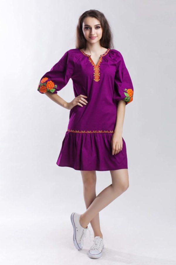 Платье с вышивкой Роза рюша виноград
