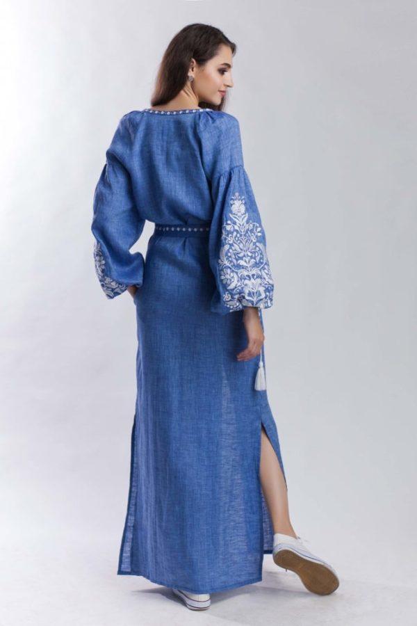 Платье с вышивкой Дерево жизни джинс