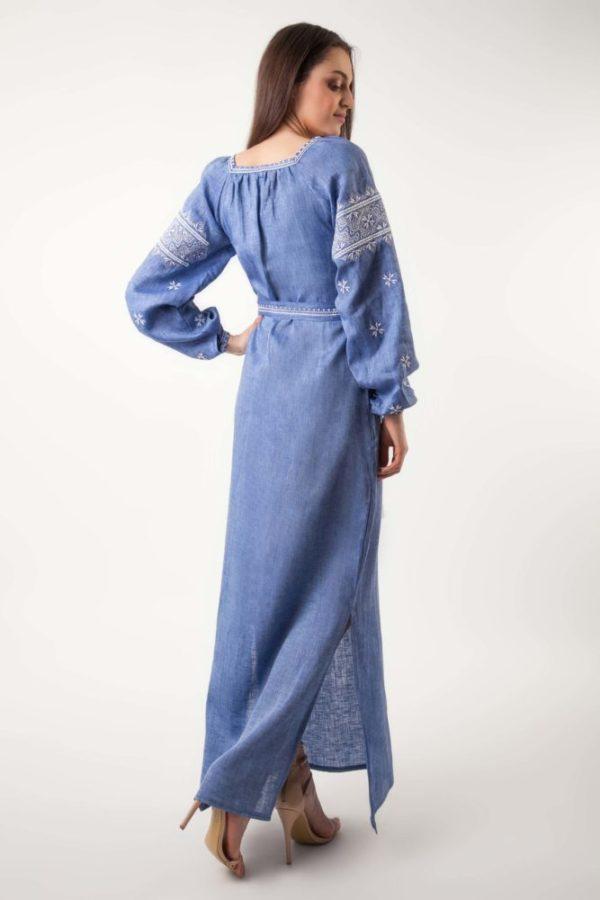 Платье с вышивкой Твори мир джинс длинный рукав