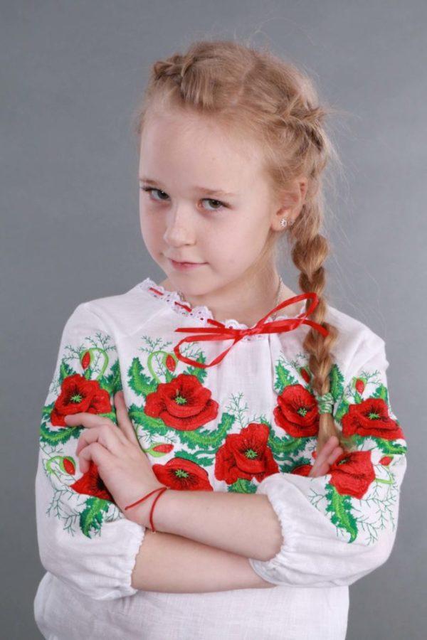 Вышиванка для девочки Мак и укроп
