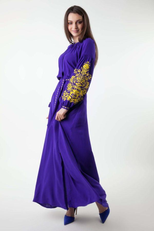 Платье с вышивкой Дерево жизни фиолетовый/желтый
