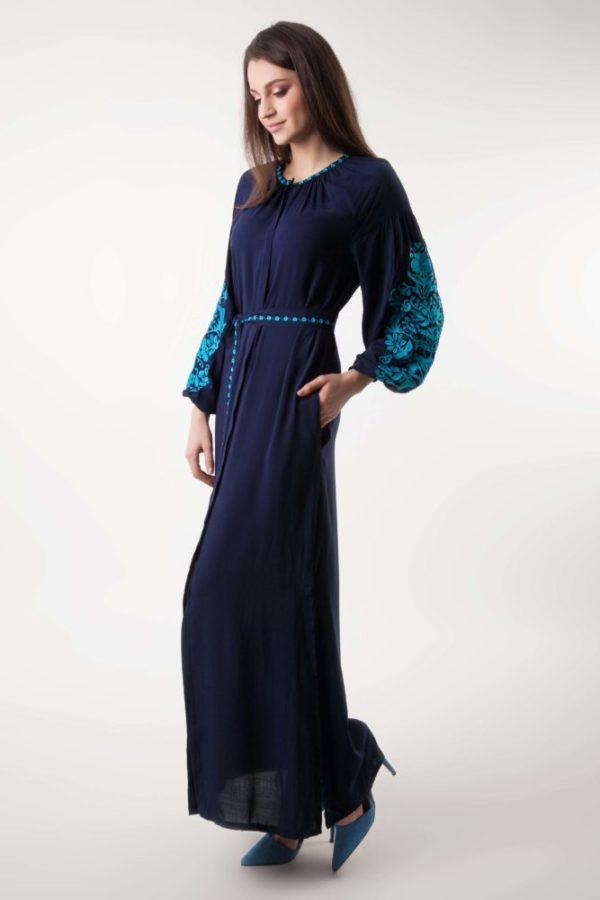 Платье с вышивкой Дерево жизни темно-синий/бирюза