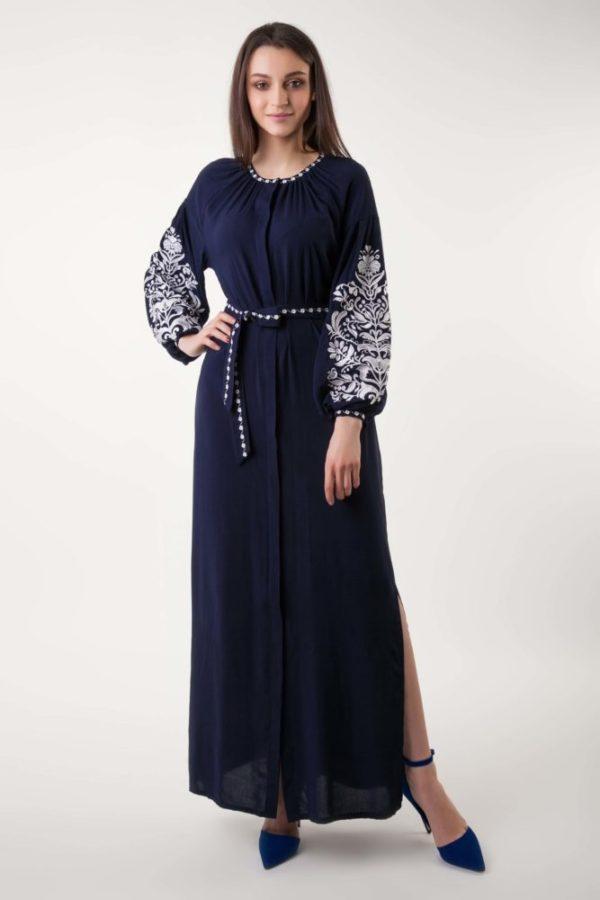 Платье с вышивкой Дерево жизни темно-синий/белый