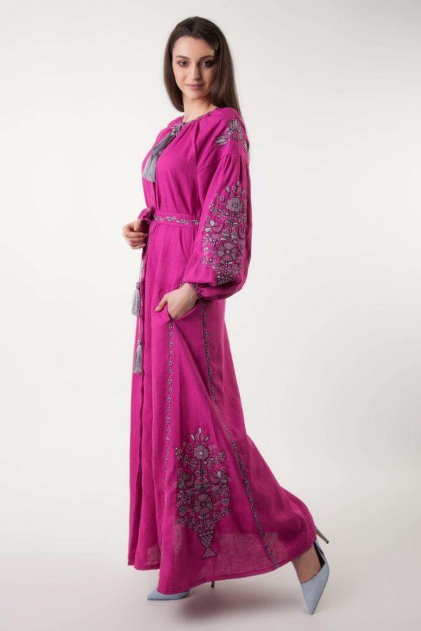 Платье с вышивкой Цветущий сад фуксия/серый
