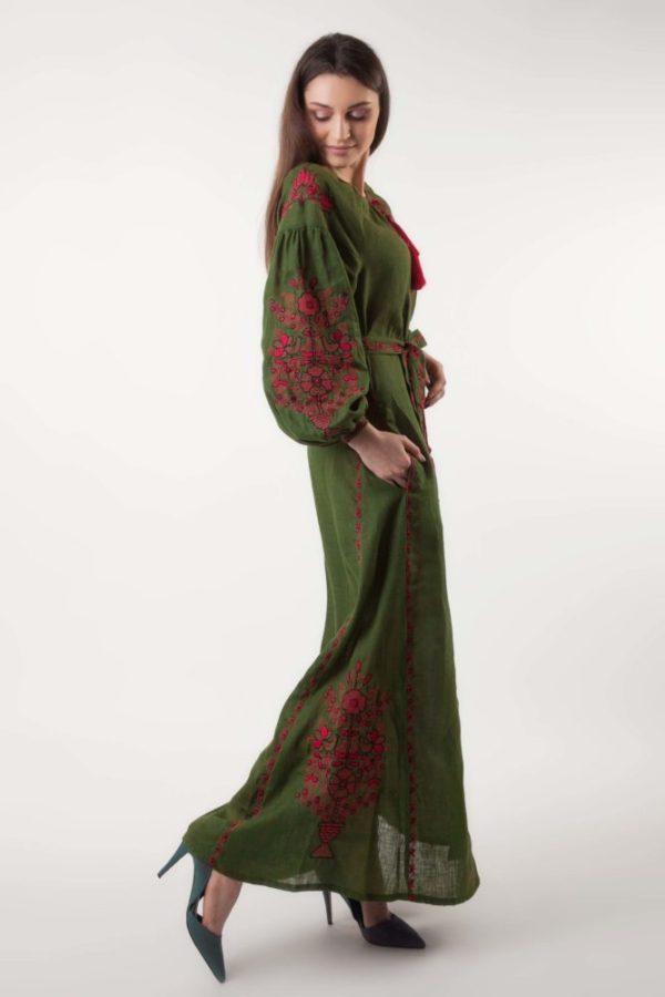 Платье с вышивкой Цветущий сад хаки/красный
