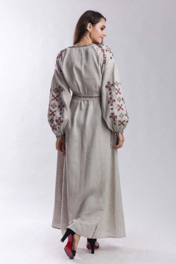 Платье с вышивкой Цвет папоротника беж/бордо