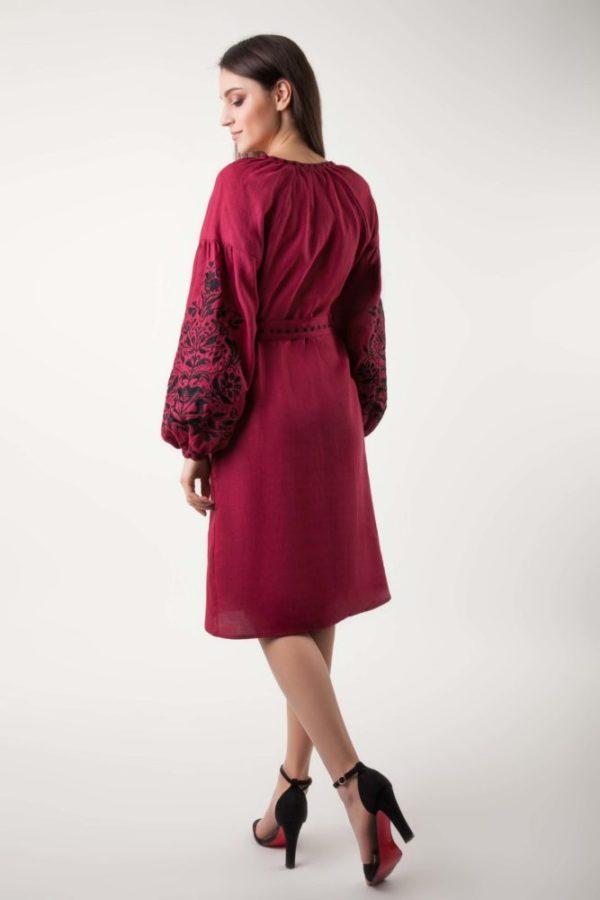 Платье с вышивкой Дерево жизни бордо/черный