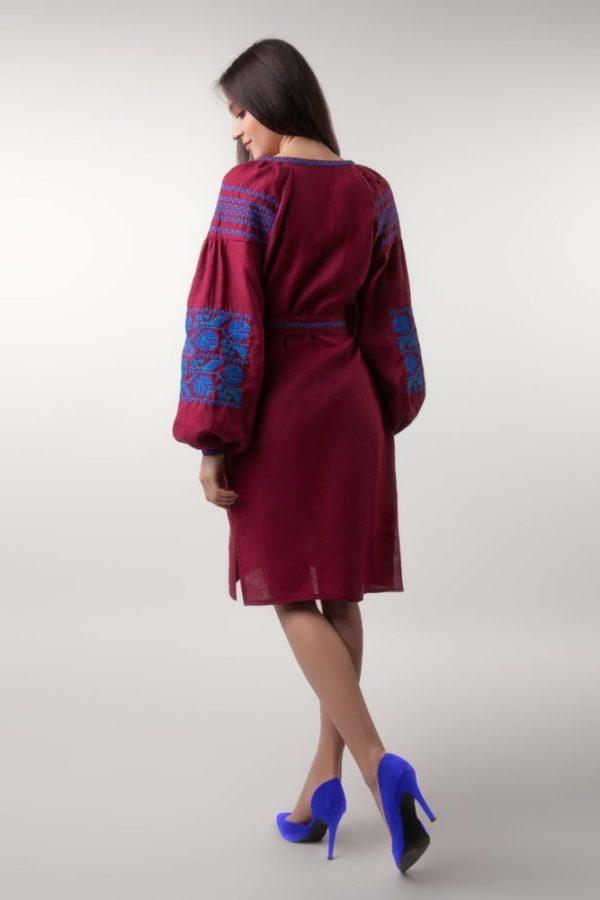 Платье с вышивкой Ломаная ветка бордо/электрик