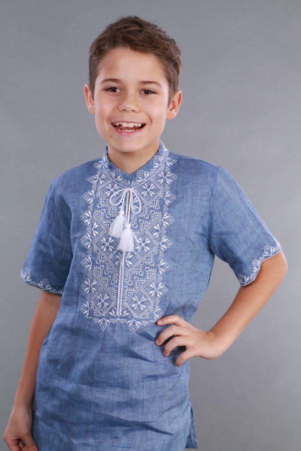 Вышиванка для мальчика Твори мир короткий рукав джинс