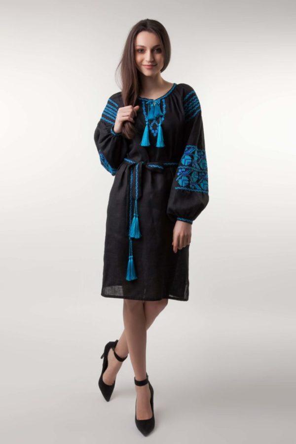 Платье с вышивкой Ломаная ветка черный/бирюза
