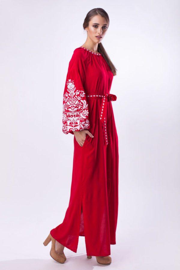 Платье с вышивкой Дерево жизни ровное красное/белая
