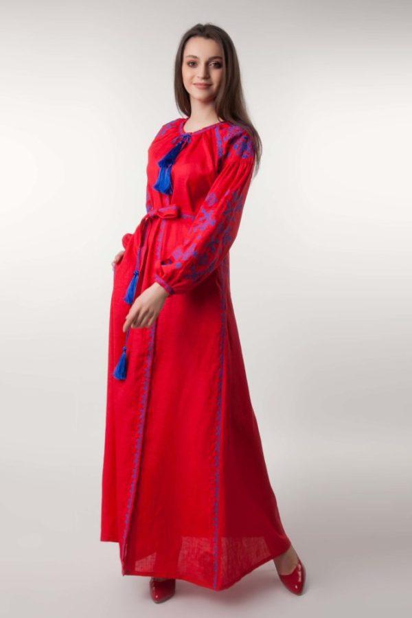 Платье с вышивкой Цветок папоротника красное/электрик