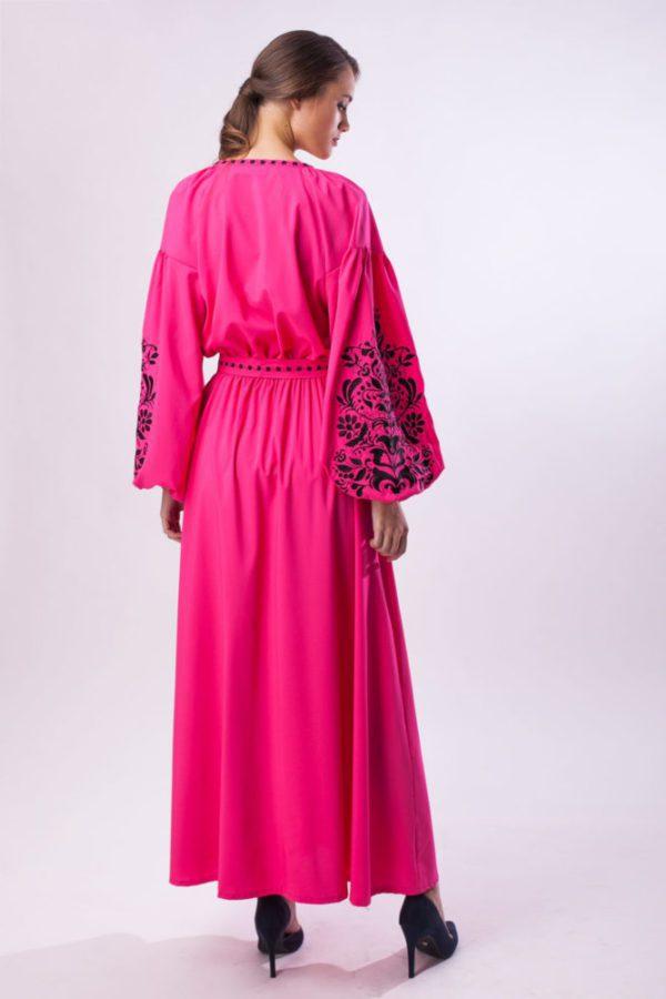 Платье с вышивкой Дерево жизни фуксия/черный