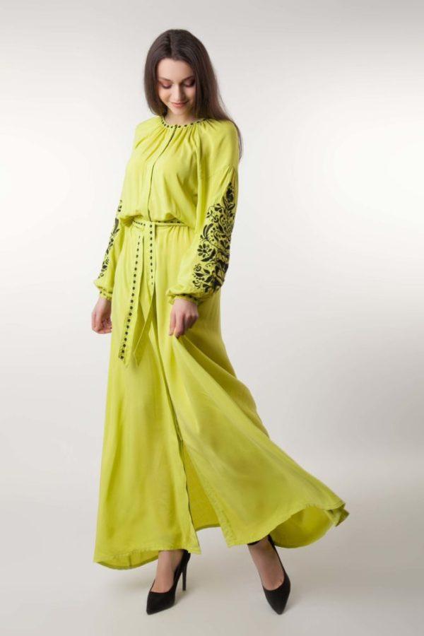 Платье с вышивкой Дерево жизни канарейка